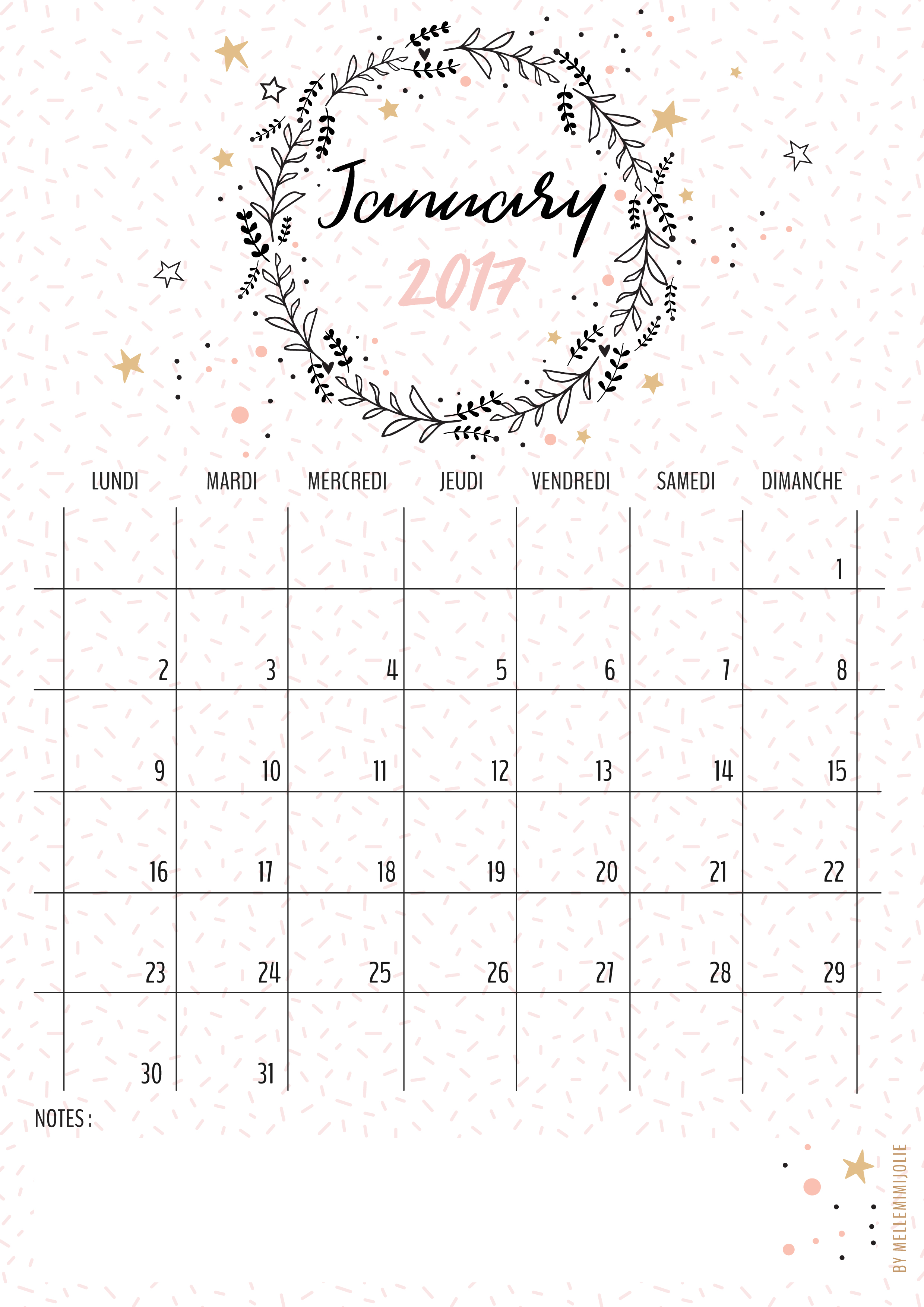 Calendar 2019 With Notes