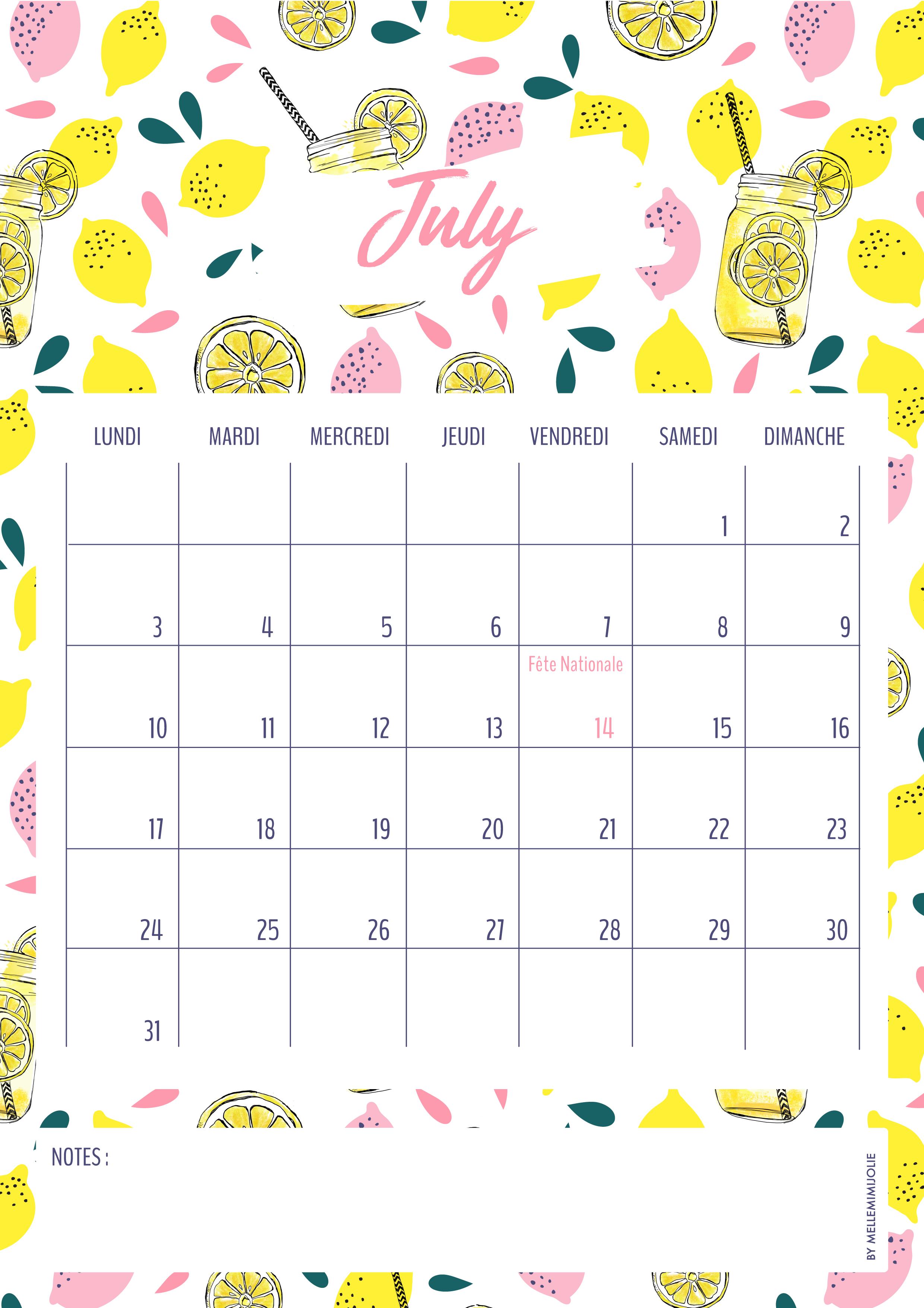 le calendrier de juillet