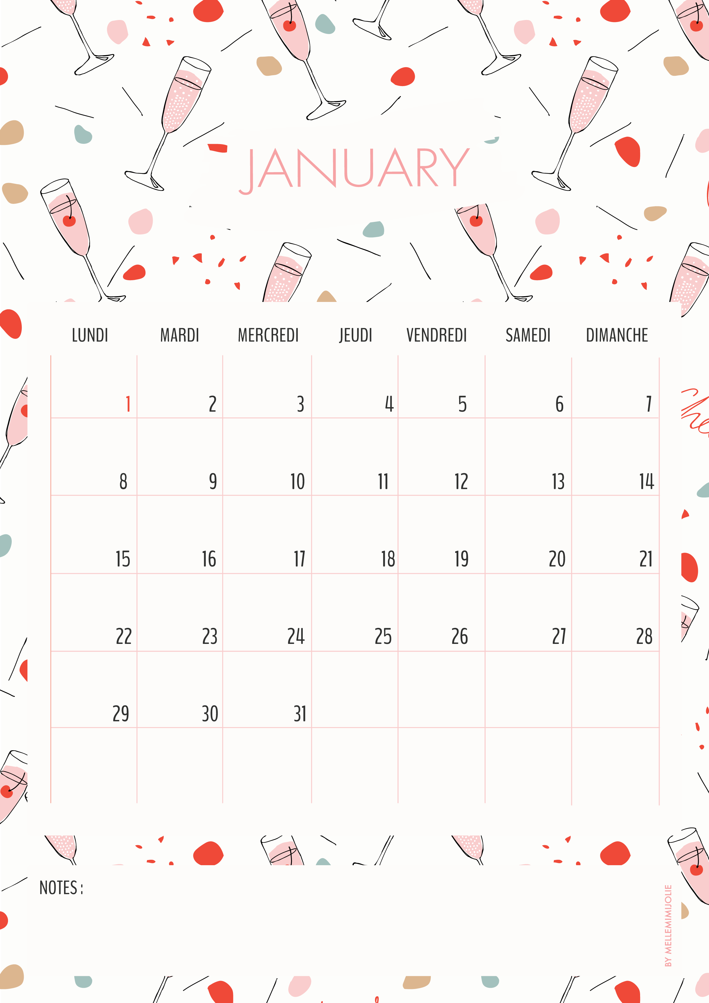 Cheers -Calendrier Janvier 2018 | MelleMimijolie